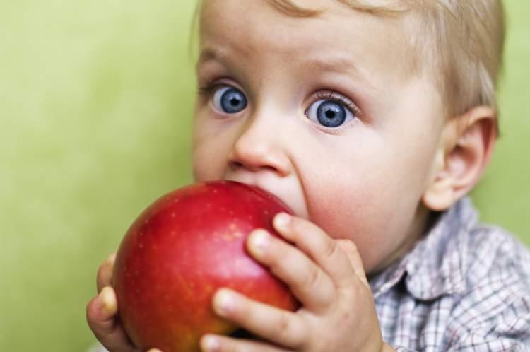 kırmızı elma yediğini görmek