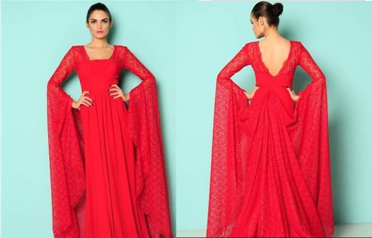 kırmızı kına elbisesi giydiğini görmek