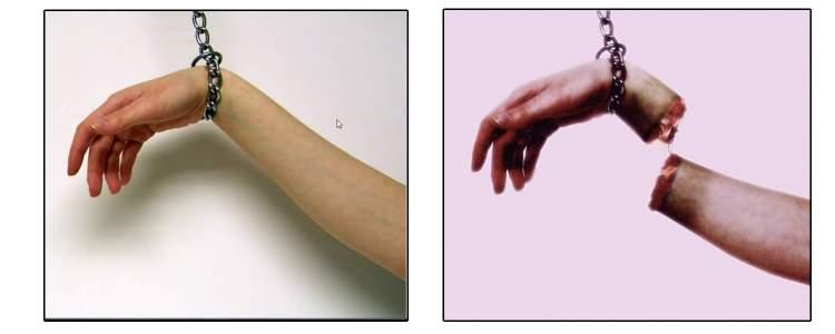 kolunun kesildiğini görmek