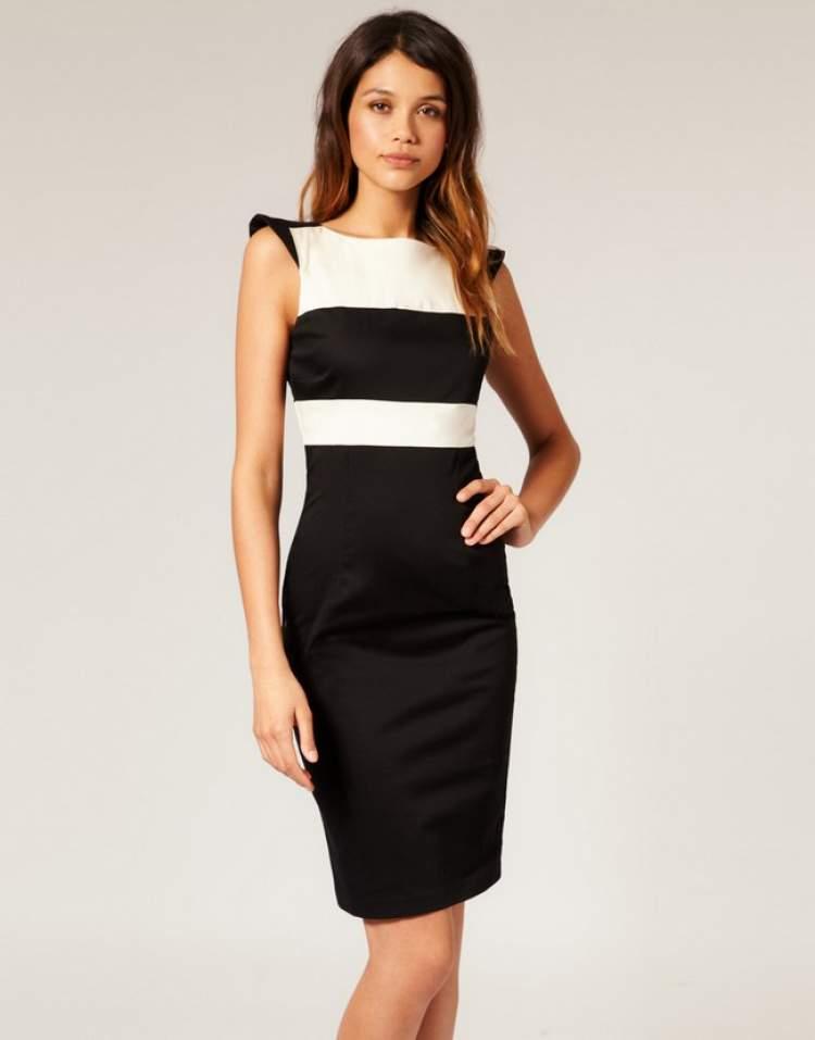 siyah beyaz elbise giymek