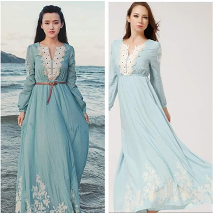 eski mavi elbise giymek